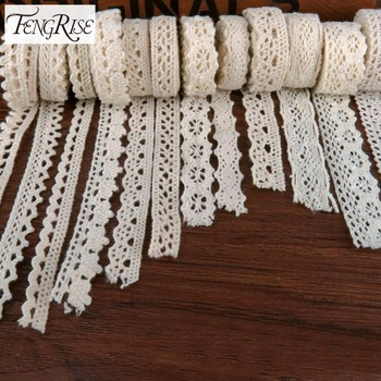 FENGRISE Apparel Sewing Fabric 5Yards DIY Ivory Cream Trim Cotton Crocheted Lace Fabric Ribbon Handmade Accessories Craft