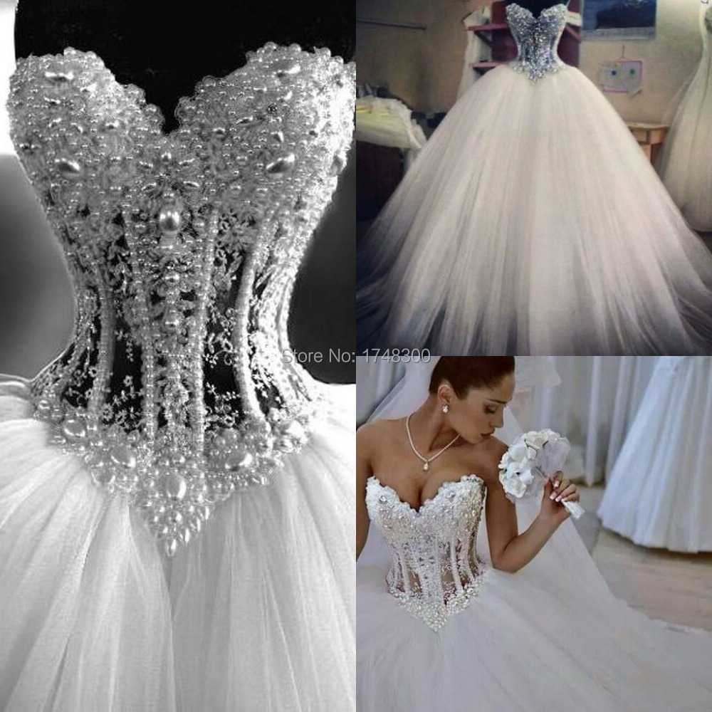 Euro new style corset bodice sheer wedding dresses pearls for Sheer bodice wedding dress