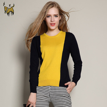 Casual Pullover Patchwork Black 100 Cashmere Sweaters Candy Cheap Wool Sweaters Sweaters Chandail Femme(China (Mainland))