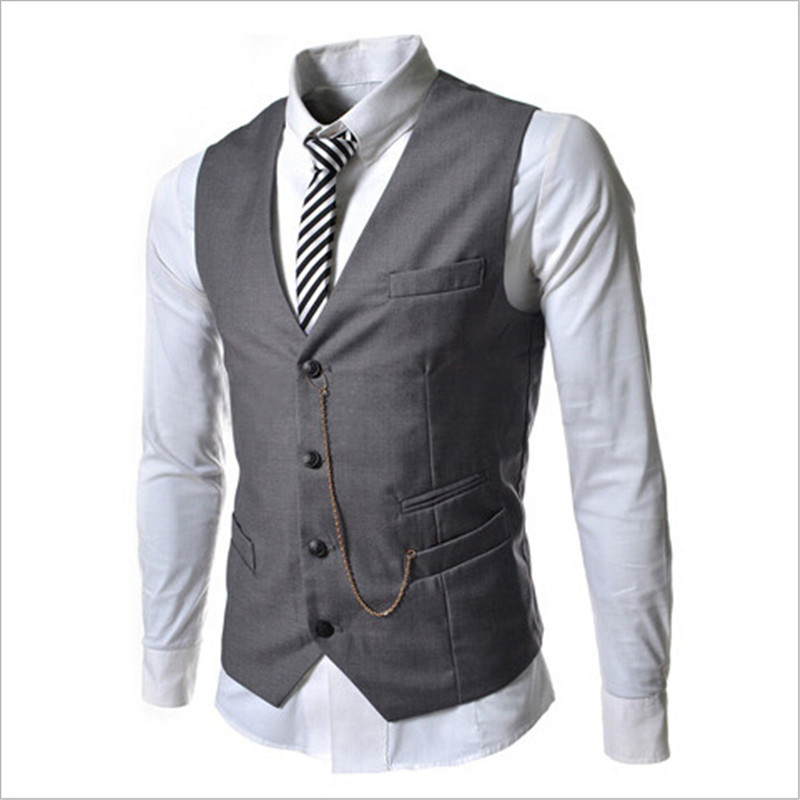 Men Vest 2015 Autumn Slim Brand Men's Slim Fit Cultivate One's Morality Leisure Vest For Men Fashion Chaleco Hombre Multi-Color