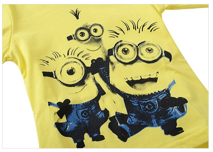 Kids fall Clothes boys girls Clothing Set  Sets Minions Yellow hoody sweatshirt pants 2 pcs winter Size for 2 3 4 5 6 7 years (8)