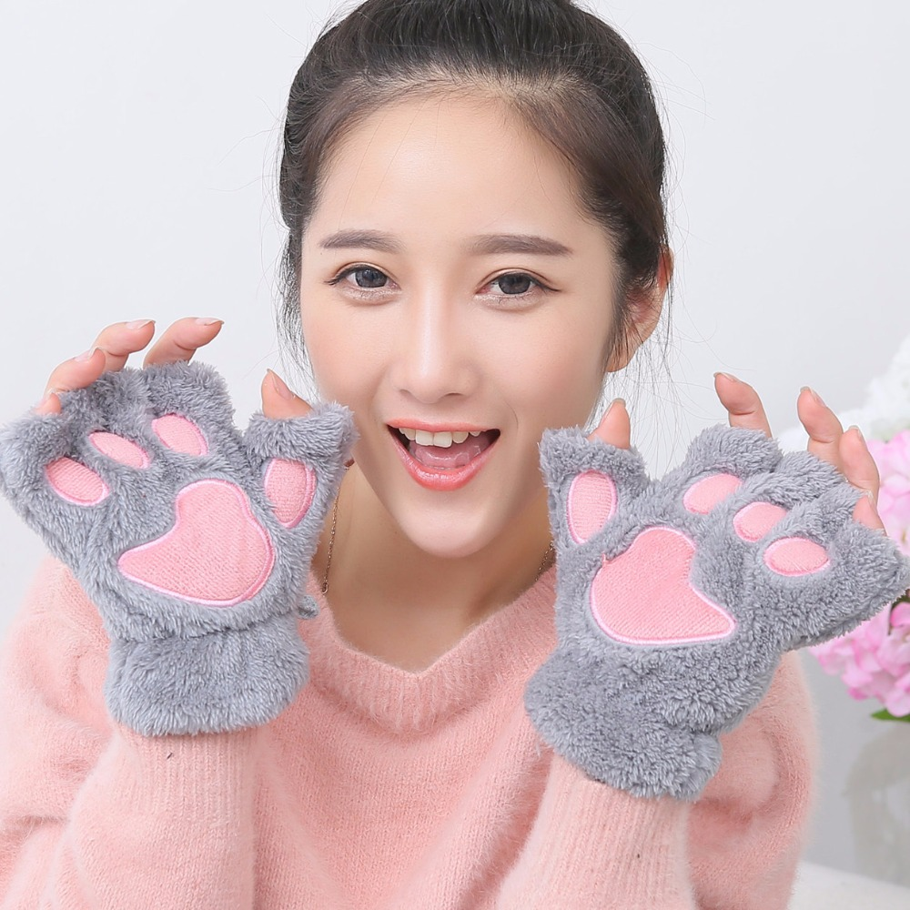 Hot Fluffy Bear Gloves Cat Plush Paw Claw Glove Soft Toweling Lady's Half Covered Wool Mittens Warmer Finger Warm Winter(China (Mainland))