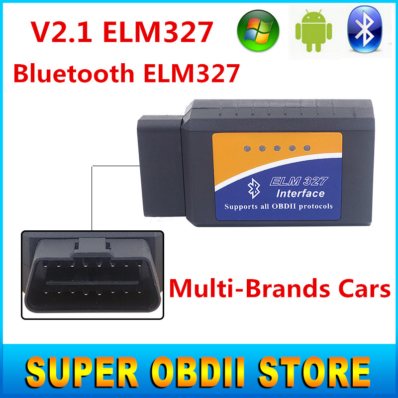 2016 Latest V2.1 ELM327 Bluetooth OBDII ODB2 Diagnostic Interface Bluetooth ELM 327 Car Scan Tool For Multi-Brands Cars Android(China (Mainland))