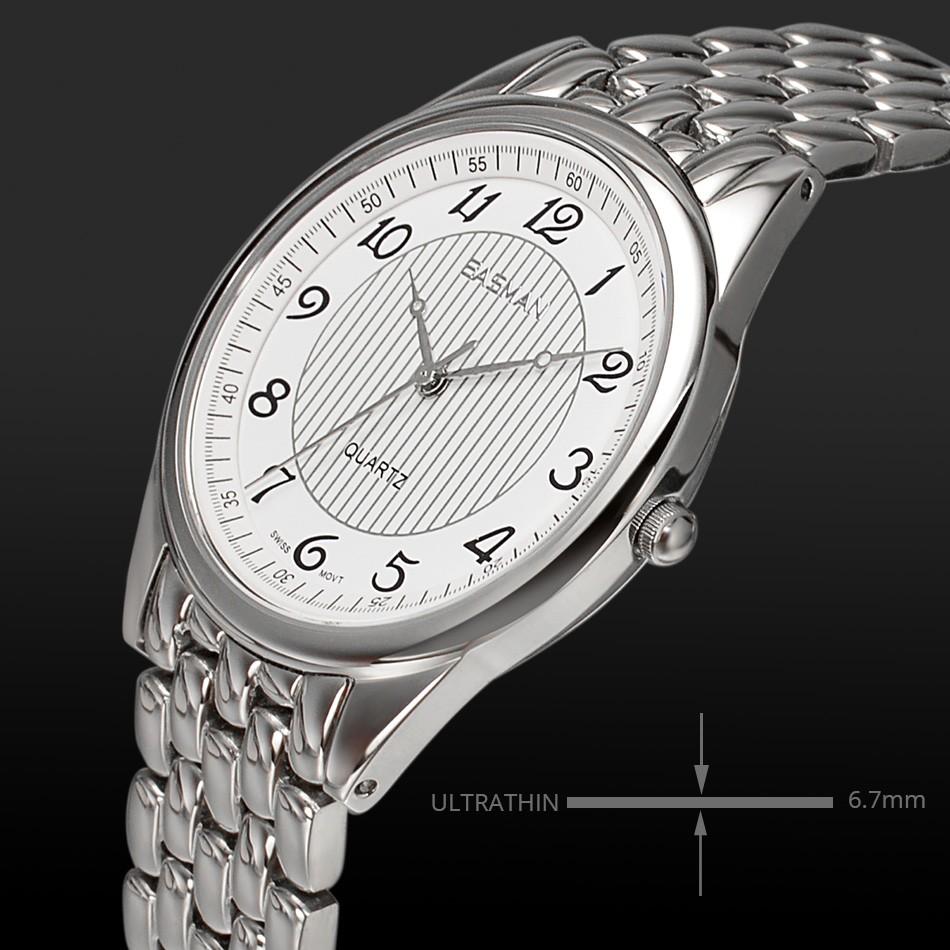 EASMAN Марка Топ Швейцарии Кварцевые Наручные Часы Часы Новые Люди Бренд Круглый Швейцарские Часы Полоса Дизайнер Белый Наручные Часы