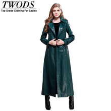 Twods 2015 new autumn leather trench coat for women classic design slim double-breasted turn-down collar fashion x long coats(China (Mainland))