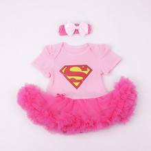 Baby Girl Rompers 2pcs Sets Tutu Romper Dress/Jumpersuit headband Elsa Anna Party Birthday Chirstmans Superman Batman 0-1Y(China (Mainland))
