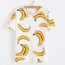 Майка женщин 2016 новые банан печать футболка вершины каваи футболку роковой женщины Camisetas Mujer TX38