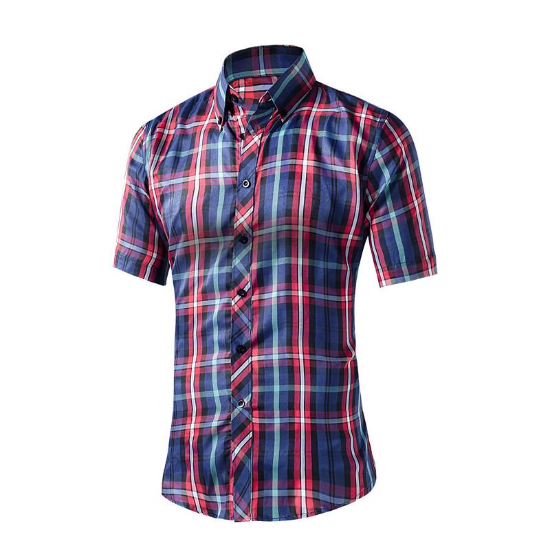 Free Shipping 2016 New Brand Clothing Mens Slim Fit Plaid Stylish Dress Casual Short Sleeve Shirts Mens Dress Shirts(China (Mainland))
