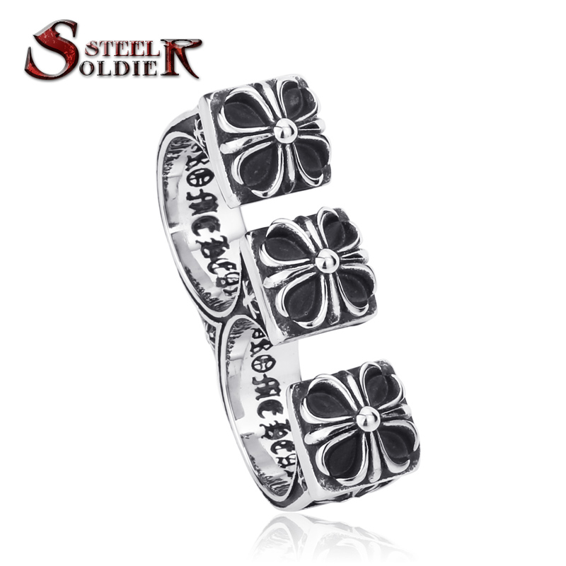 Steel soldier Size 8-11 Stainless Steel Man Jewelry double ring Gothic Triple Fleur De Lis Ring Personality Vintage BR8-094(China (Mainland))