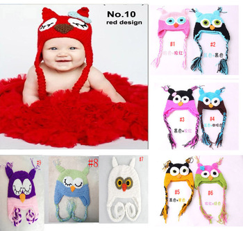 10 Colors Best price - Handmade Knitted Crochet Baby Hat owl hat with ear flap cap Free shipping 10pcs/lot