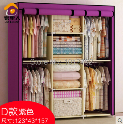 Hot free shipping large cloth wardrobe five grid for Furniture to hang clothes