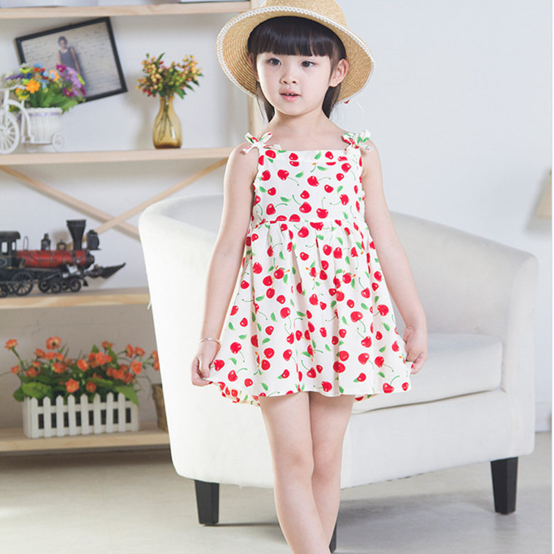 Summer Style Apple Printing Bow Sling A-Line Sleeveless Girl Dress 2015 New Arrival Fashion Sweet Cute Children Clothing(China (Mainland))