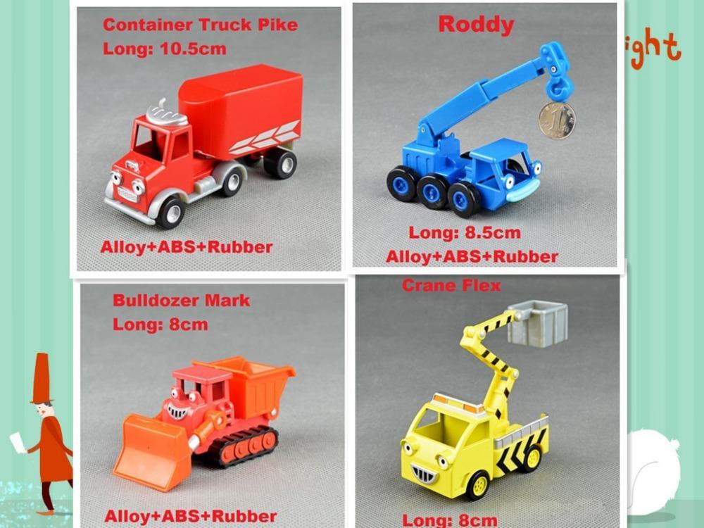 4pcs Bob The Builder metal Construction Vehicles Models collection kids gifts+Pik,Roddy,Mark,Flex(Mix order)(Hong Kong)