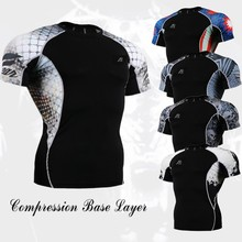 FIXGEAR Short Sleeves Compression Base Layers W/ Graphic Double Sleeves Multi-functional Fitness Exercise Sports Tops T-shirt