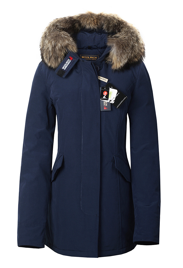 Woolrichs arctic parka ladies fox fur goose down coat jacket navy blue outwear slim fit woman jacket(China (Mainland))