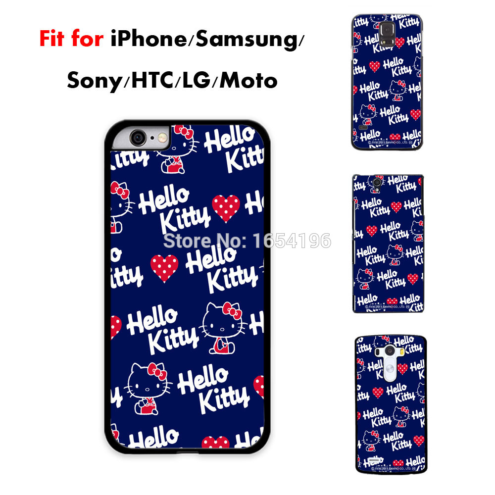 2015 Fashion Cute Hello Kitty Mobile Phone Cases For iPhone 5S 5C 6 Plus Covers For Samsung Galaxy S4 S5 Mini S6 Case For LG G3(China (Mainland))