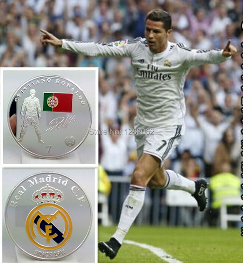 5pcs/lot. Real Madrid Cristiano Ronaldo world cup football player star sport silver plated Souvenir Coin(China (Mainland))