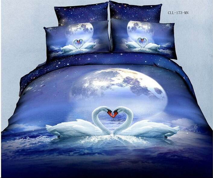 4PCS full size 3d moon two swan animal luxury bedding sets girls comforter sets blue and white bedding quality bedding(China (Mainland))