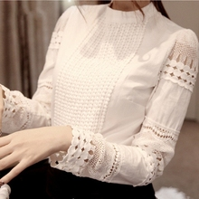 High Quality Spring Autumn Women's Cotton Shirts long-sleeved cotton Blouses Slim basic Tops hollow lace shirts For Female(China (Mainland))