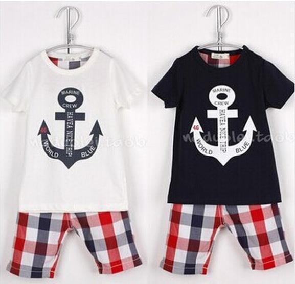 baby boys suit kids children 2 pc set anchor t shirt + shorts pants plaid girl set 0125 sylvia 43083867779(China (Mainland))