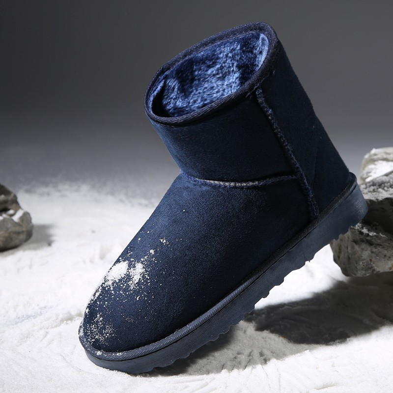 Winter thermal men's plus velvet short boots male snow boots fur warm cotton-padded shoes lovers cotton boots tidal current Men