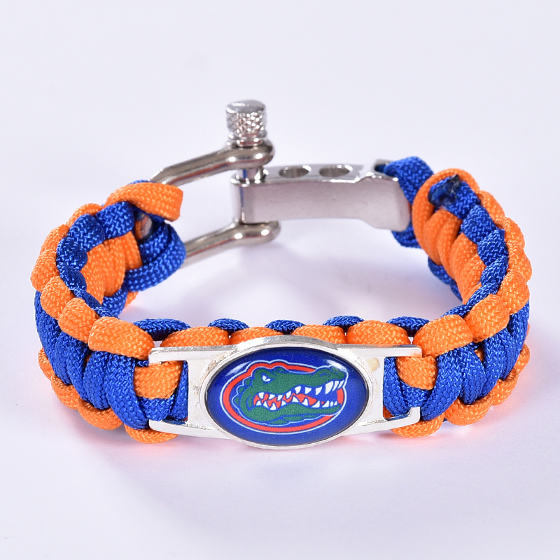 Florida Gators Custom Paracord Bracelet NCAA College Football Charm Bracelet Survival Bracelet, Drop Shipping! 6Pcs/lot!(China (Mainland))