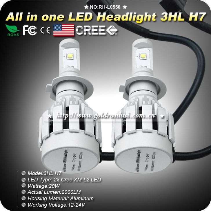 Free shipping super cool 2000LM All in one H7 Single Beam Cree car led light bulb CREE XML2 led car headlight H7 kit 6500K White(China (Mainland))