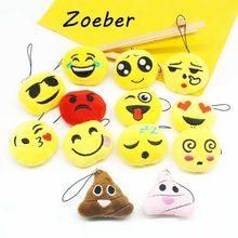 13 PCS um conjunto/lote emoji Engraçado da cara dos desenhos animados Anime chaveiros Chaveiros de pompom Acessórios Macio Recheado sorriso keychain(China)