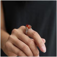 Новое поступление 925 стерлингового серебра Ювелирные изделия эксклюзивный марочный Облака Карвинг Дизайн  Кольцо натурального янтаря Лучшие подарки(China (Mainland))