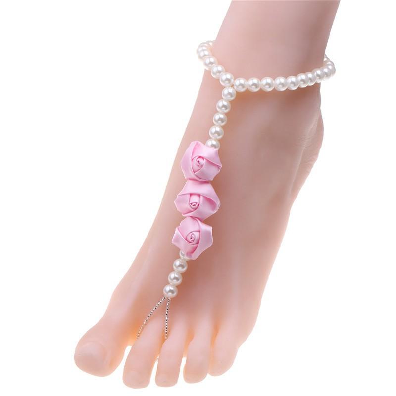 Newest Pink Rose Flower Anklets Simulated-pearl Anklet Rose Wedding Barefoot Sandals Chain On Foot Women Bracelets For Foot Voet