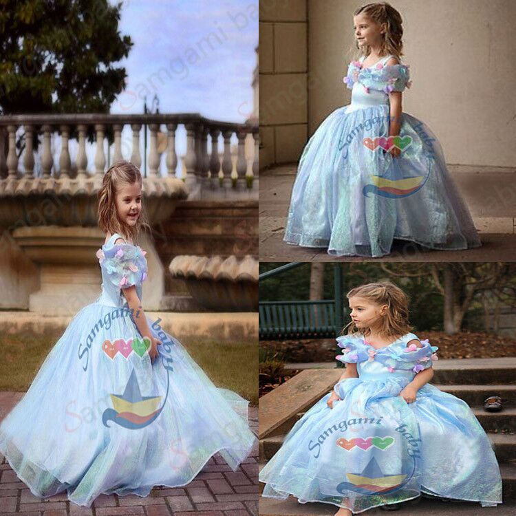 Retail 2015 New Movie Child's Fair Tale Girls Kids Cosplay Costume Cinderella Princess Party Performances Dress - Cute little angel store