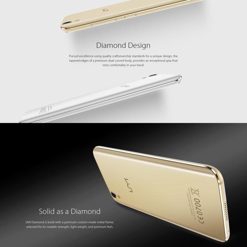 Original UMI Diamond 4G LTE Mobile Phone 3GB RAM 16GB ROM MTK6753 Octa Core 5.0inch 1280×720 Android 6.0 Camera 8MP Smartphone