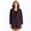 Wholesale autumn and winter Long sleeve Euro Style Plaid Winter Woman Loose Cardigan Coat Overcoat
