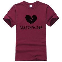 남자 tshirt 힙합 랩 xxxtentacion 남자 음악 랩퍼 셔츠 100% 코 튼 인쇄 t 셔츠 여름 짧은 소매 패션 t-셔츠(China)