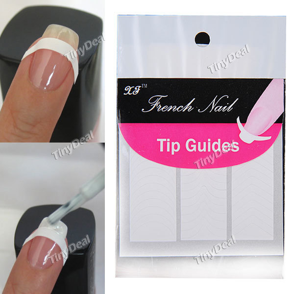 10pcs French Nail Art Tips 3 Style Form Fringe Guides Sticker DIY Stencil Nail Sticker Tips Free shipping(China (Mainland))