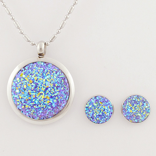 Anniversary Gift ! Imitated gemstone jewelry sets women blue fantasy charming pendant earrings accessories, - GS Fashion store