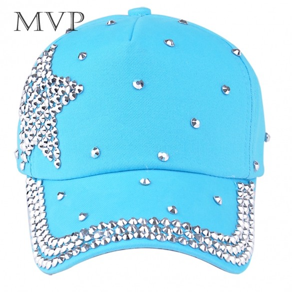 New Style 2014 Fashion Brand Baseball cap rhinestone star shaped Boy Girls snapback hat children Cap B2# 41(China (Mainland))