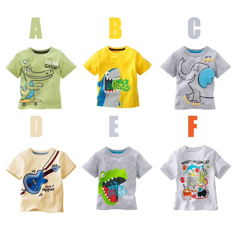 summer Children T-shirt boys Tees Short sleeve shirts Summer Kids Tops Cartoon Baby Dino/elephant patterns short-sleeve T-shirt(China (Mainland))