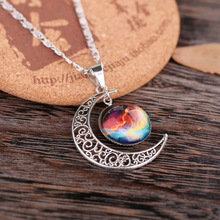 2016 Star Sailor Moon Necklace Pendant Crescent Vintage Hollow Long Silver Chain Link Pendants Galactic Glass Cabochon Sweater - fashion with beauty store