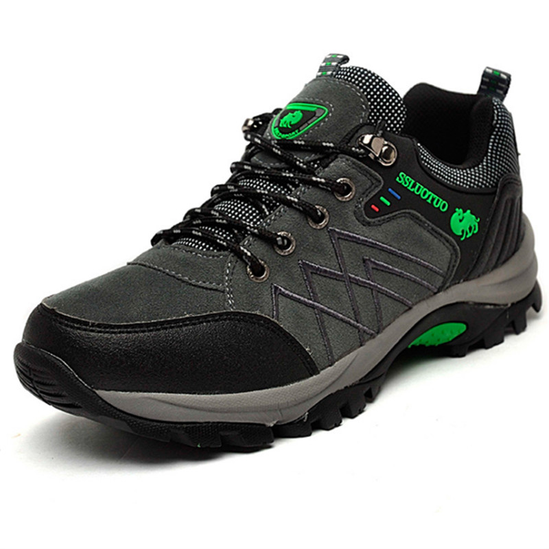 Fashion Mens Casual Shoes Genuine Leather Outdoor Hiking Lace Breathable Plus Size s