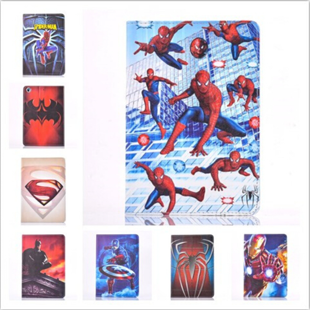2015 Cartoon Superman Spiderman Batman Apple iPad 2 3 4 9.7 Inch Tablet Phone Case Leather PU Stand Cover - Rose Angel store