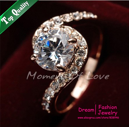 Free shipping,ITALINA Wedding Love Ring 18KRose Gold Plated Ring Made with Genuine Austrian Crystals Full Sizes,R013