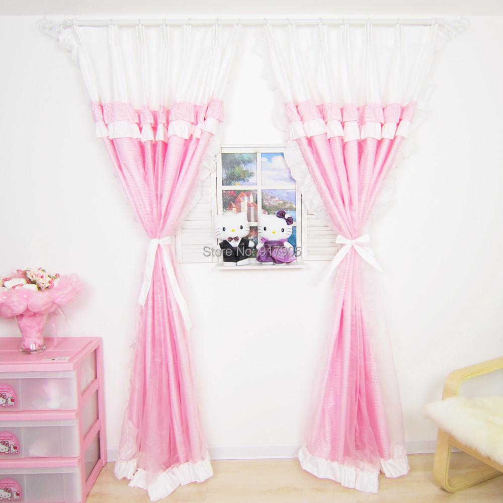 Curtains fashion korean ruffled curtains set elegant princess curtains