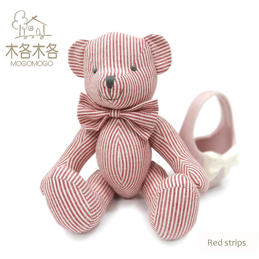 Custom plush toy 25 cm pink striped pattern design high quality teddy bear pass EN71 test report and CE mark and Reach docs(China (Mainland))