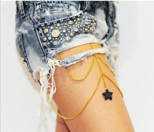 2014 Leg Rouelle NESSA body piece, chain, garter leg thigh , gold harness, - DuDu Living store
