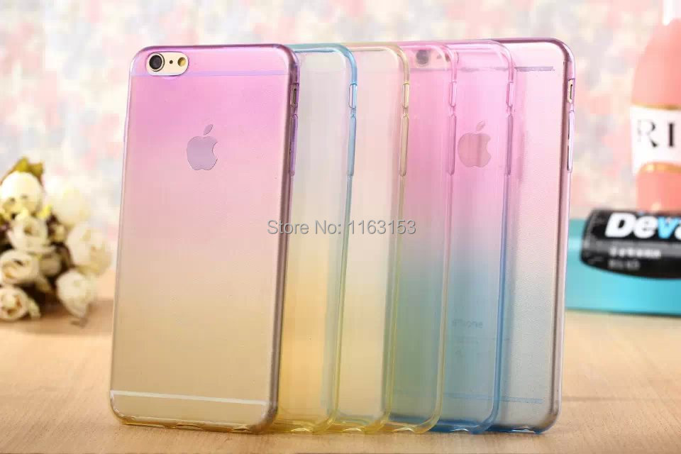 The new for iphone 6 ultra-thin The rainbow gradient case apple 4.7 inch double color following TPU personality soft shell(China (Mainland))