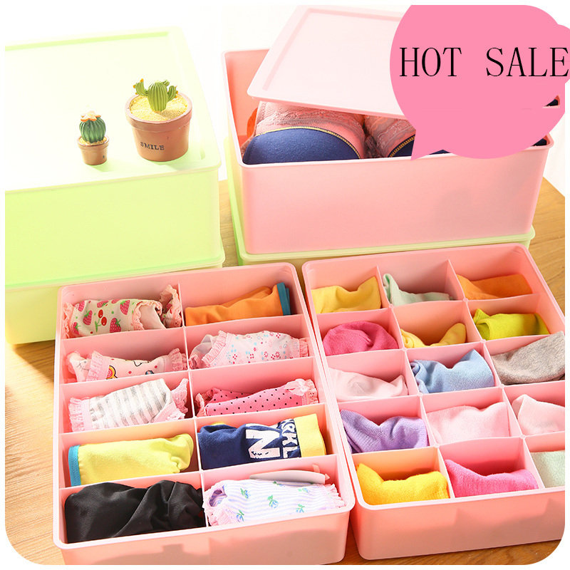 Underwear Bra Socks Drawer Plastic Compartment Lid Storage Box - yafee color space store