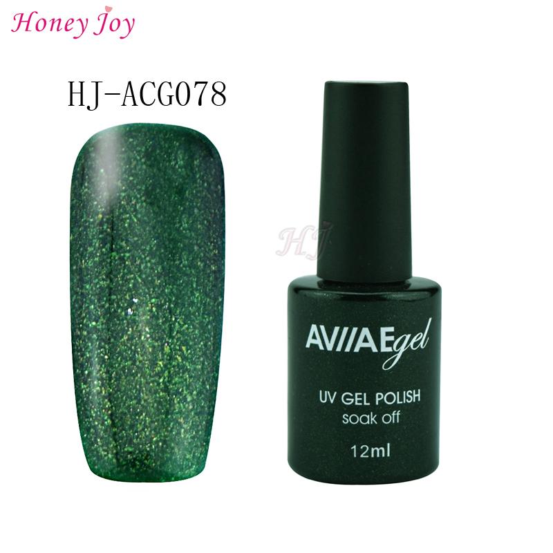 AVIIAE Sparkle Empire Dark Green Color Gel Nail Polish Long-Lasting Soak-off LED UV Lamp Cure Cosmetic Make Up Gel Polish 12ML(China (Mainland))
