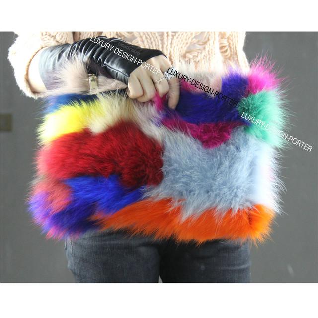 Новый цвета радуги лисий мех сумочка впп стиль клатч из натурального меха модный Bolsa