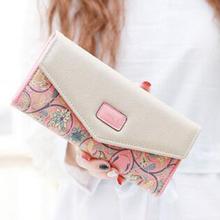 2016 Printing 3 Fold Flower Ladies Wallet Fashion Women Long Wallets PU Envelope Bag Card Holder Clutch Purse Carteras Cuzdan(China (Mainland))
